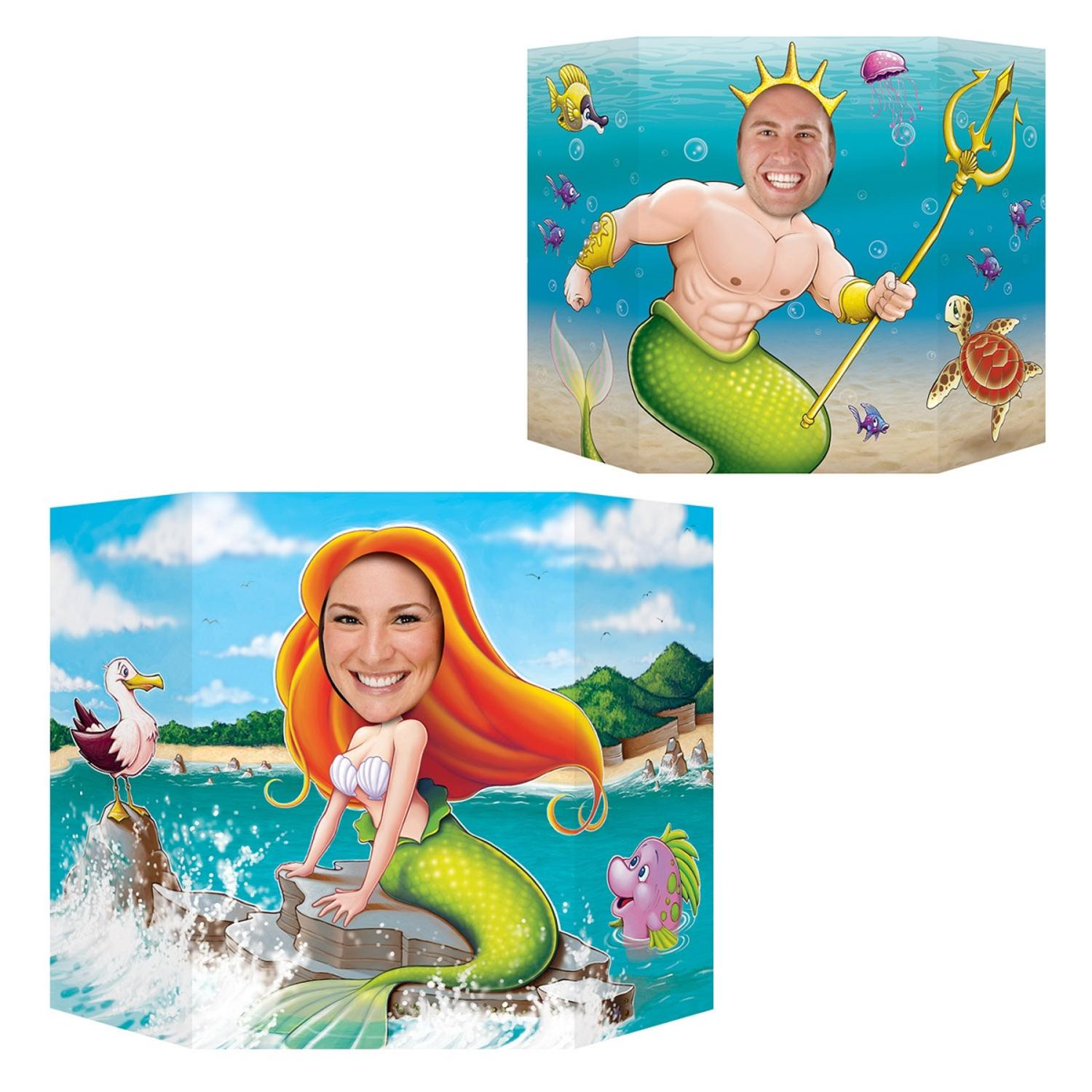 """Pack of 6 Mermaid Themed Double Sided Stand Up Cutout Photo Prop Decorations 37"""""""