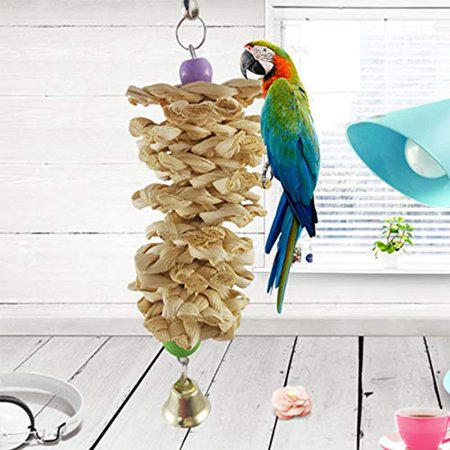 Bird Parrot Toy with Bell Natural Wooden Grass Chewing Bite Hanging Cage Swing Climb Chew