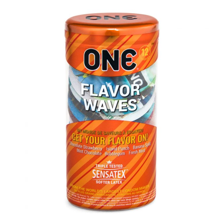 ONE Flavor Waves + Brass Pocket Case, Flavored Lubricated Latex Condoms-12 Count (Retail Packaging)