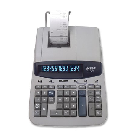 Victor 15706 Heavy Duty Printing Calculator   14 Character S    Fluorescent   Power Adapter Powered   2 8  X 8 8  X 12 5    Gray  Vct15706