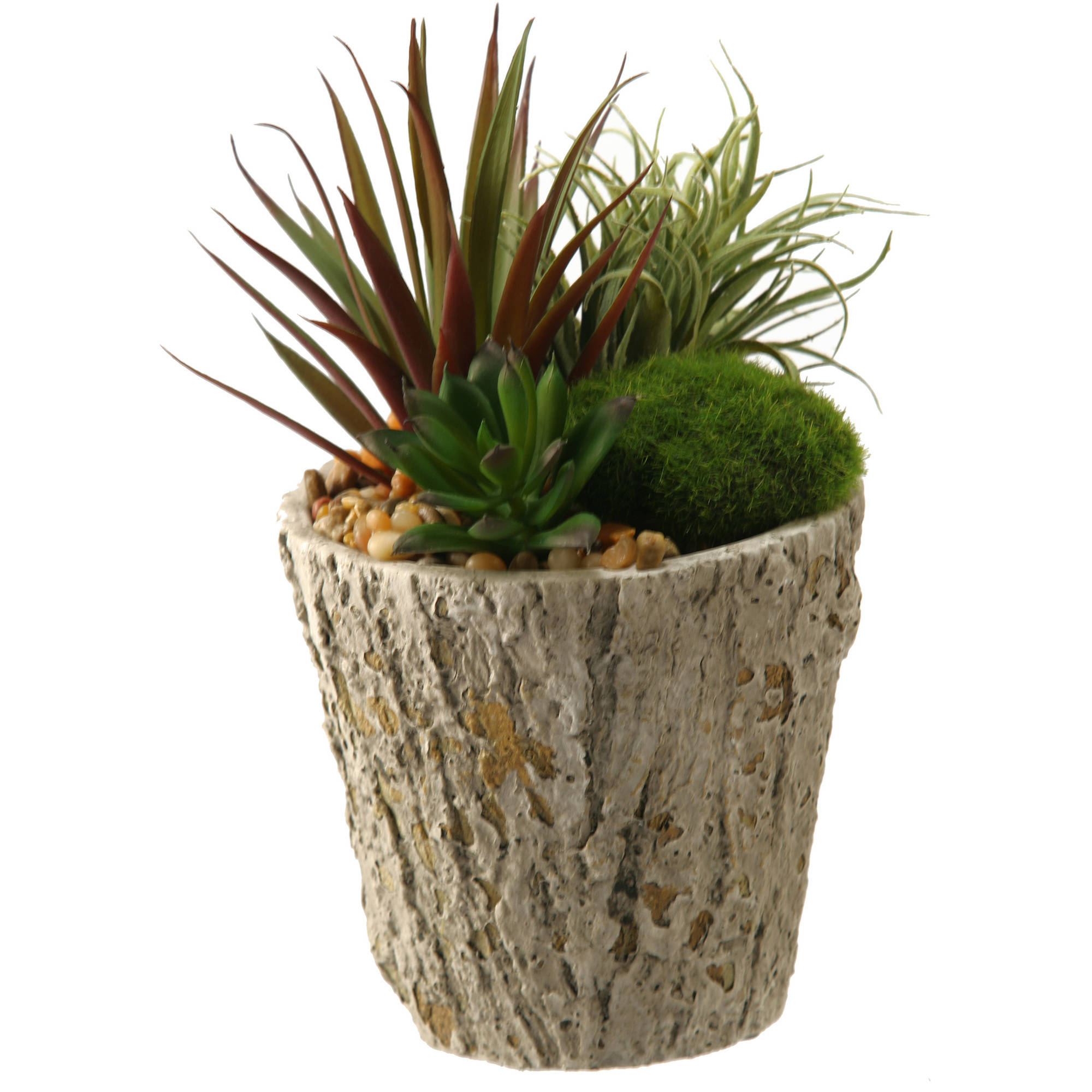 D&W Silks Easter Grass and Succulents in Weathered Oak Look Cement Planter