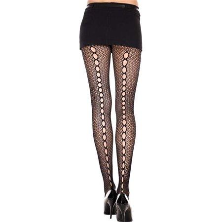 Music Legs 50031-BLACK Keyhole Back Seam Crochet Spandex Pantyhose - Black