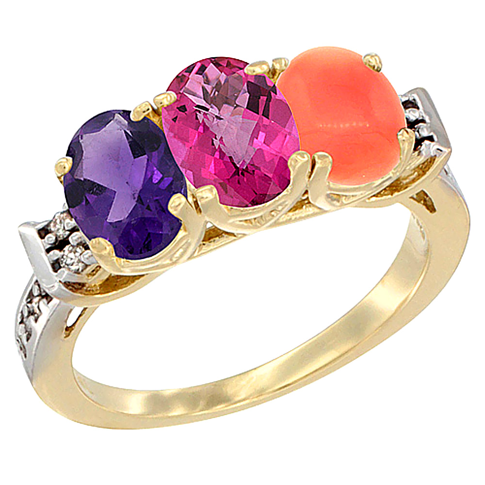 14K Yellow Gold Natural Amethyst, Pink Topaz & Coral Ring 3-Stone 7x5 mm Oval Diamond Accent, sizes 5 10 by WorldJewels