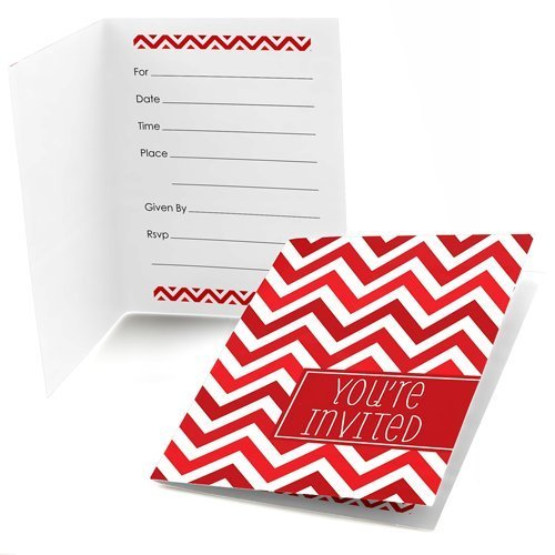 Chevron Red Fill-In Invitations (8 count)
