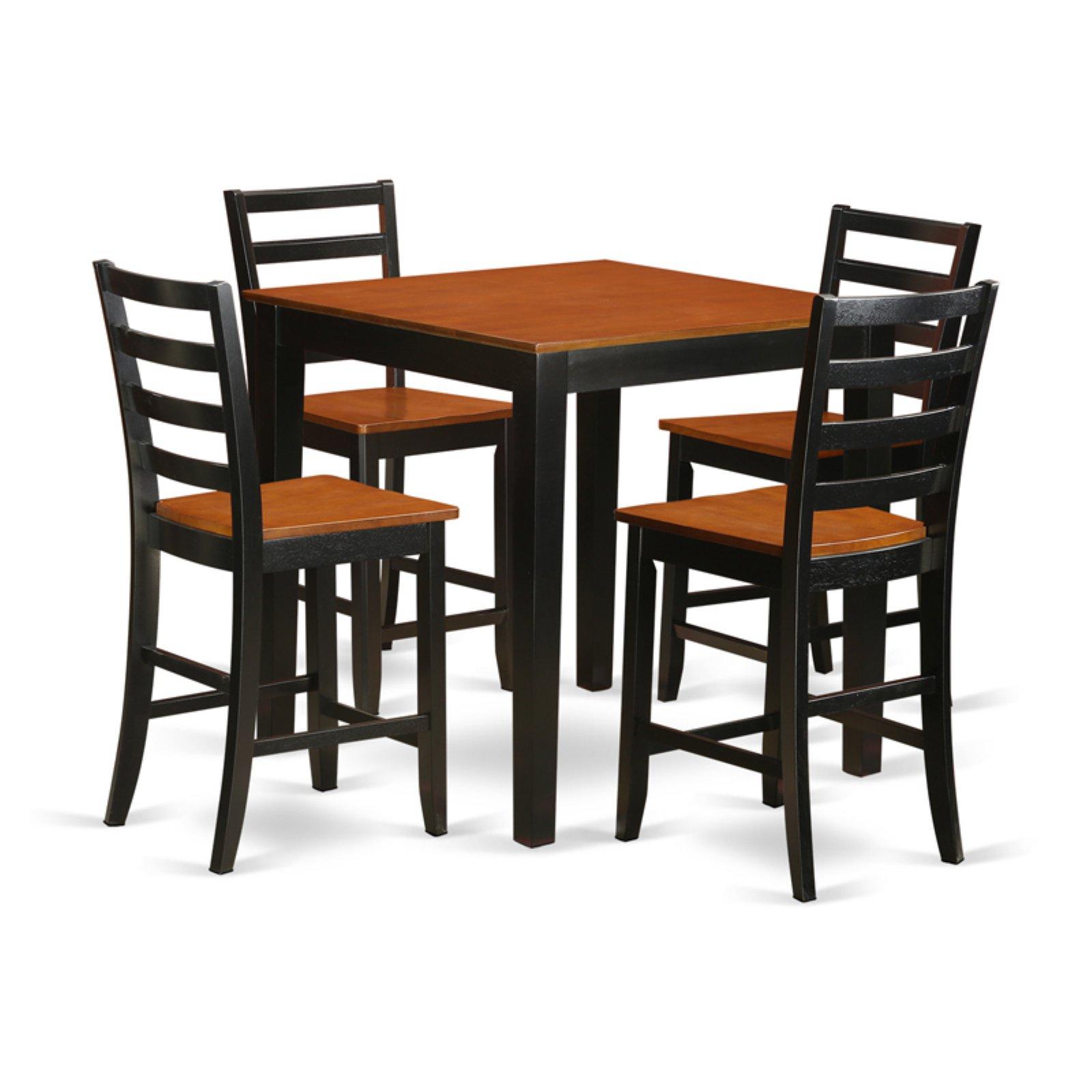 East West Furniture Pub 5 Piece Ladder Back Dining Table Set