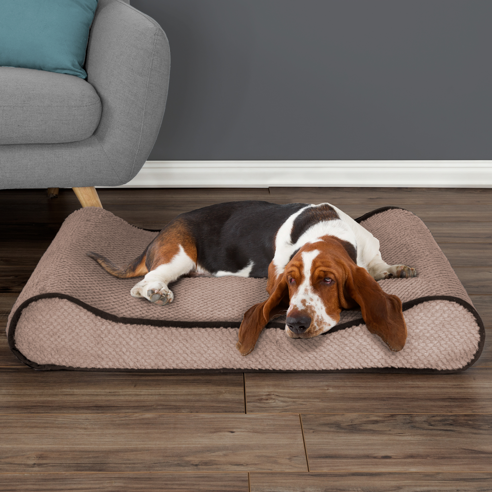 Orthopedic Pet Bed Lounger with Memory Foam 36Lx25Wx6.5H Blue by PETMAKER