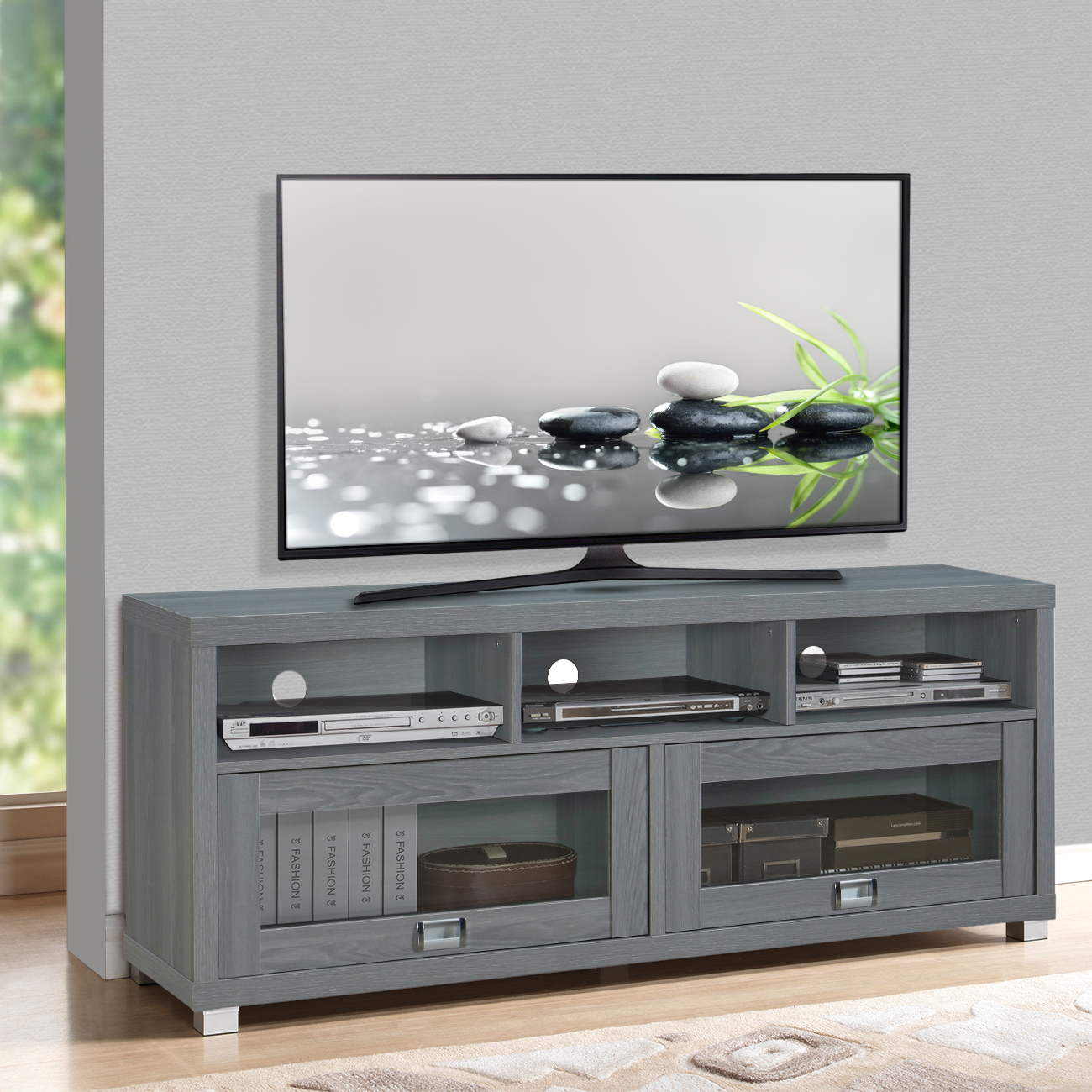 "60"" Durbin TV Stand Gray - Techni Mobili"