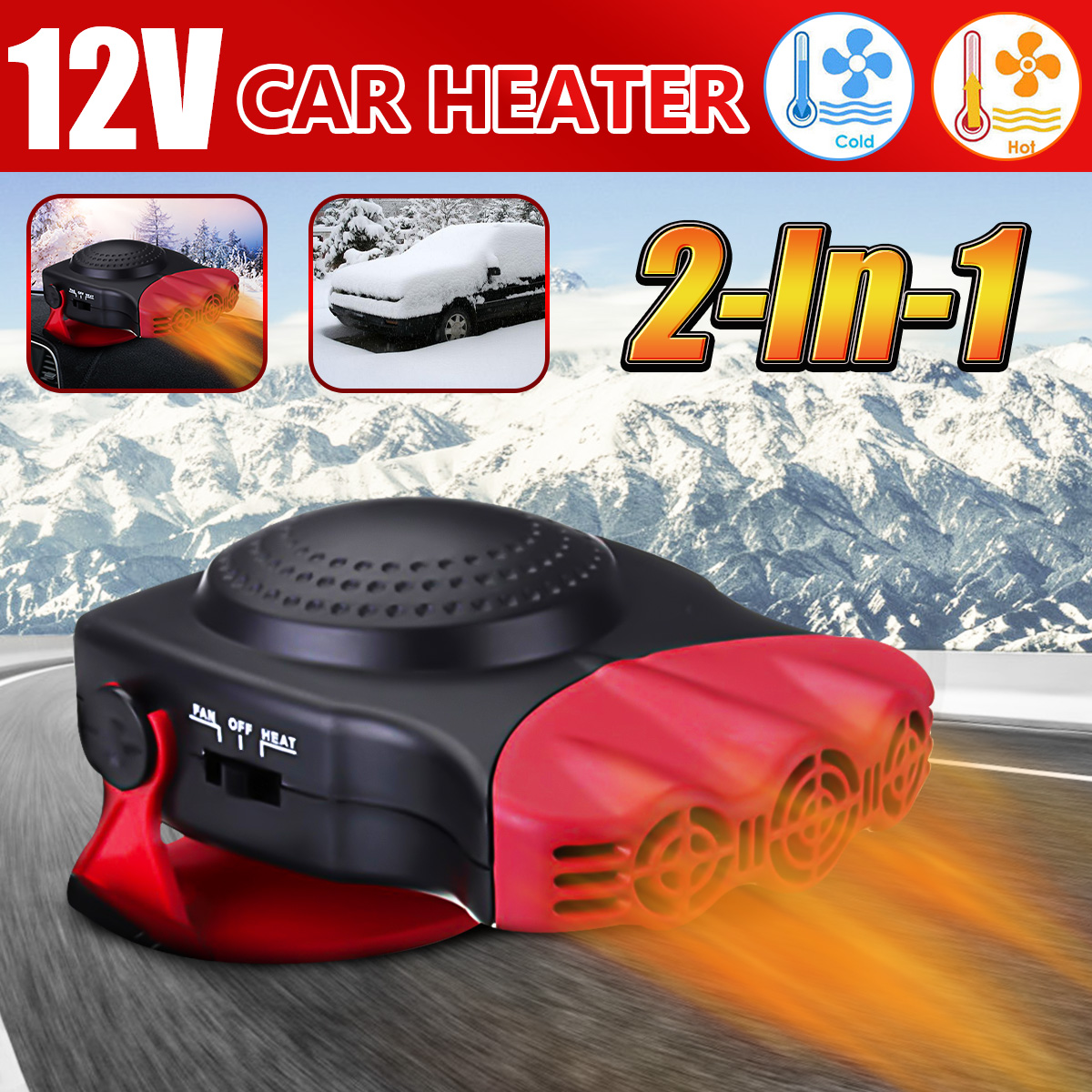 12V Car Auto Heater Cooler Dryer Plugin Demister Defroster 2 in 1 Hot Warm Fan