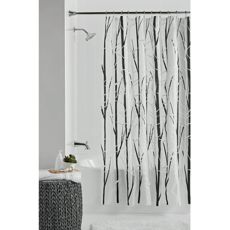 Mainstays Woodland Peva Shower Curtain Or Liner Black White 70 Inch X 72
