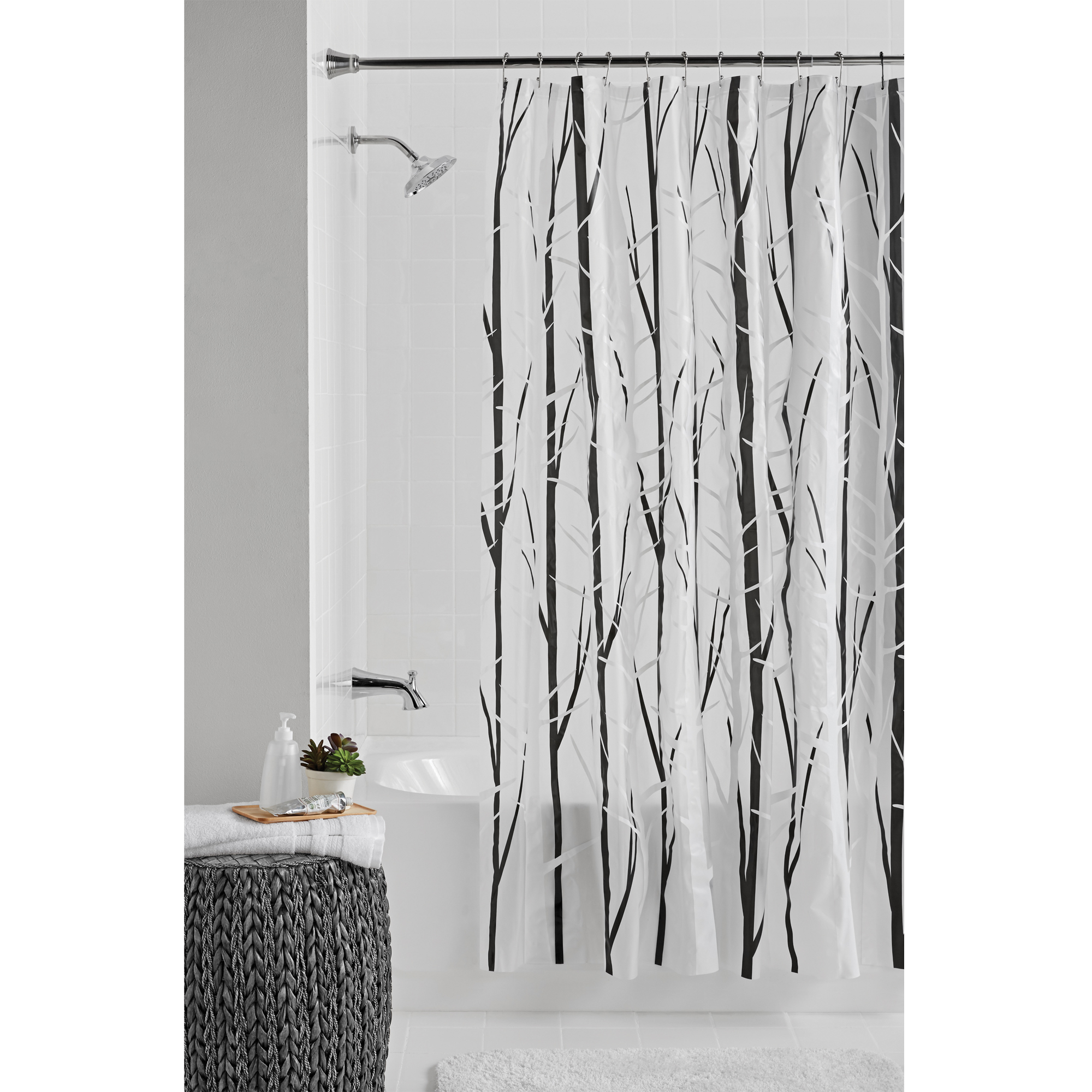 Mainstays Woodland Peva Shower Curtain or Liner, Black / White, 70 inch x 72 inch
