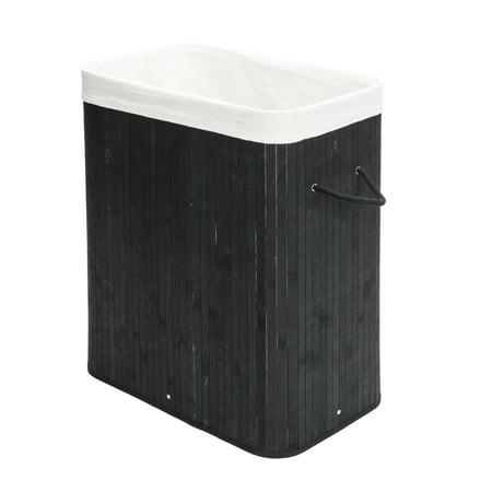 Laundry Basket for Home, Black Slim Laundry Hamper, Flip Type Bamboo Dirty Clothes Hamper Folding Basket Body PKWQ879BK-1