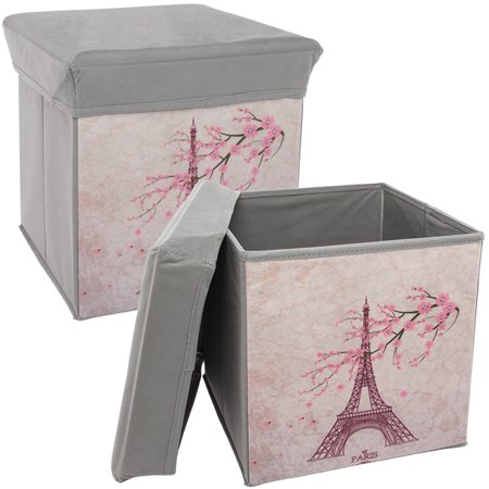 Magnificent Italia 2 Pack 12 Inch Paris Cubed Storage Ottoman Foldable Fabric Collapsible Organizer Toy Bin Andrewgaddart Wooden Chair Designs For Living Room Andrewgaddartcom