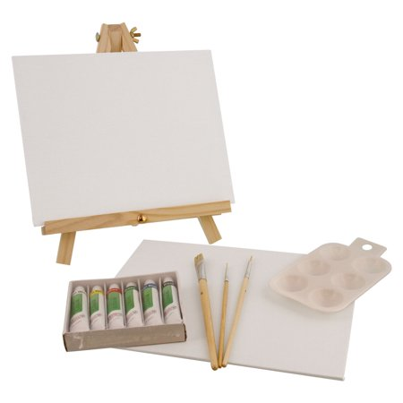 Art Painting Supplies (US Art Supply 14 Piece Acrylic Painting Set with Mini Table Easel, 6)