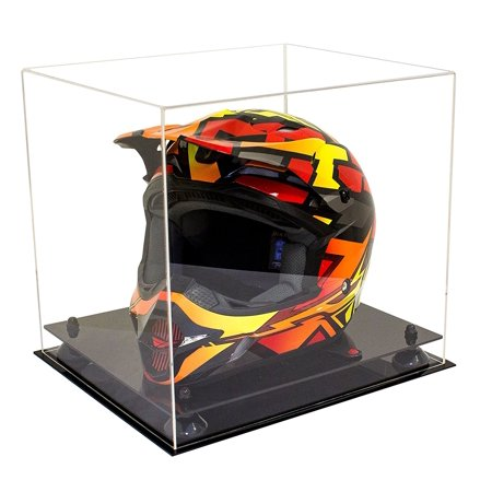 Deluxe Clear Acrylic Motorcycle Motocross or Nascar Racing Helmet Display Case with Black Risers (A024-BR) - Master Chief Deluxe Helmet