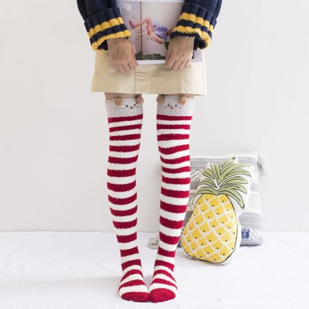 d725e014c4a Women Girl Over The Knee Socks Thigh High Long Fleece Stockings Leggings  2019 Fashion - Walmart.com