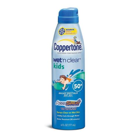 Coppertone Wet 'n Clear Kids Sunscreen Continuous Spray SPF 50, 6 oz (Pack of 3)