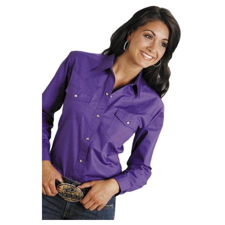 Roper Western Shirt Womens L/S Solid Poplin Purple 03-050-0265-1067 PU