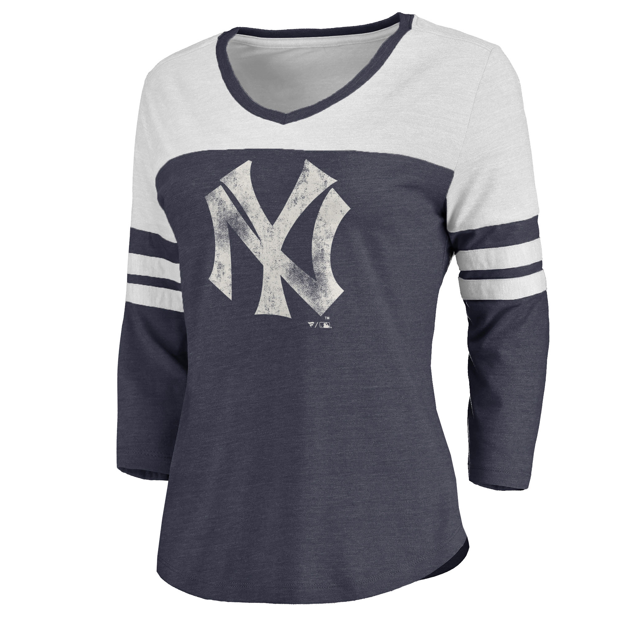 New York Yankees Women's Cooperstown Two Tone Three-Quarter Sleeve Tri-Blend T-Shirt - Navy/White
