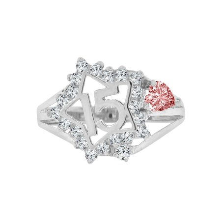 Sterling Silver White Rhodium, Star 15 Anos Quinceanera Ring Created CZ Crystals Pink Heart