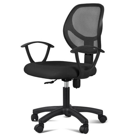 Long Back Chair - Adjustable Swivel Computer Desk Chair Fabric Mesh Office Chair with Arms Seating Back Rest,Black