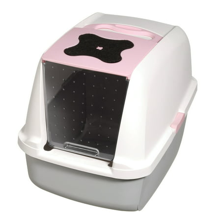Catit Hooded Cat Litter Pan, Pink (Catit Hooded Pan)