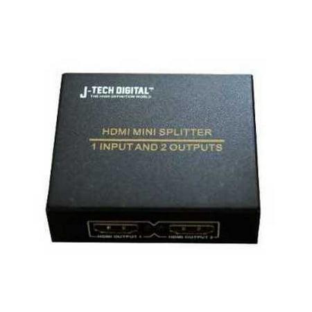 J-Tech Digital JTD-MINI-1x2SP 2 Port 1X2 Powered Hdmi Super Mini Splitter for Full Hd 1080P with 3D Capa