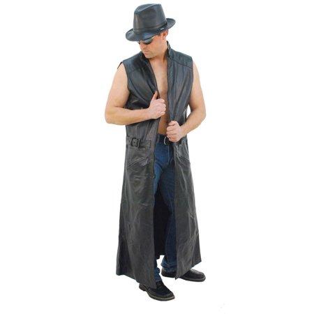 Extra Long Sleeveless Leather Trench Coat #M1008TK
