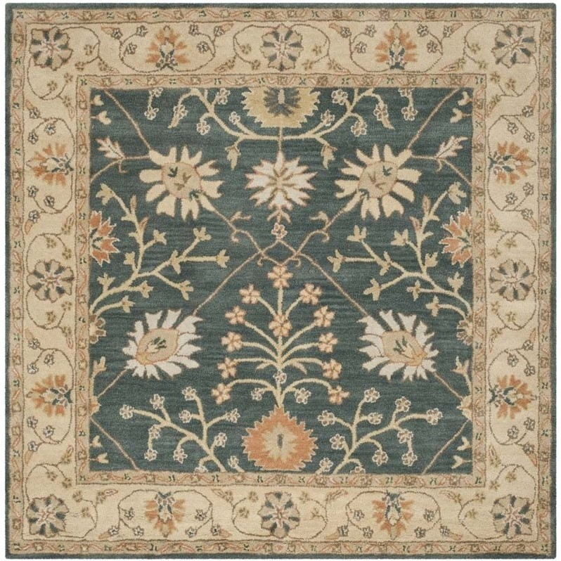 Square Rug in Blue and Light Gold