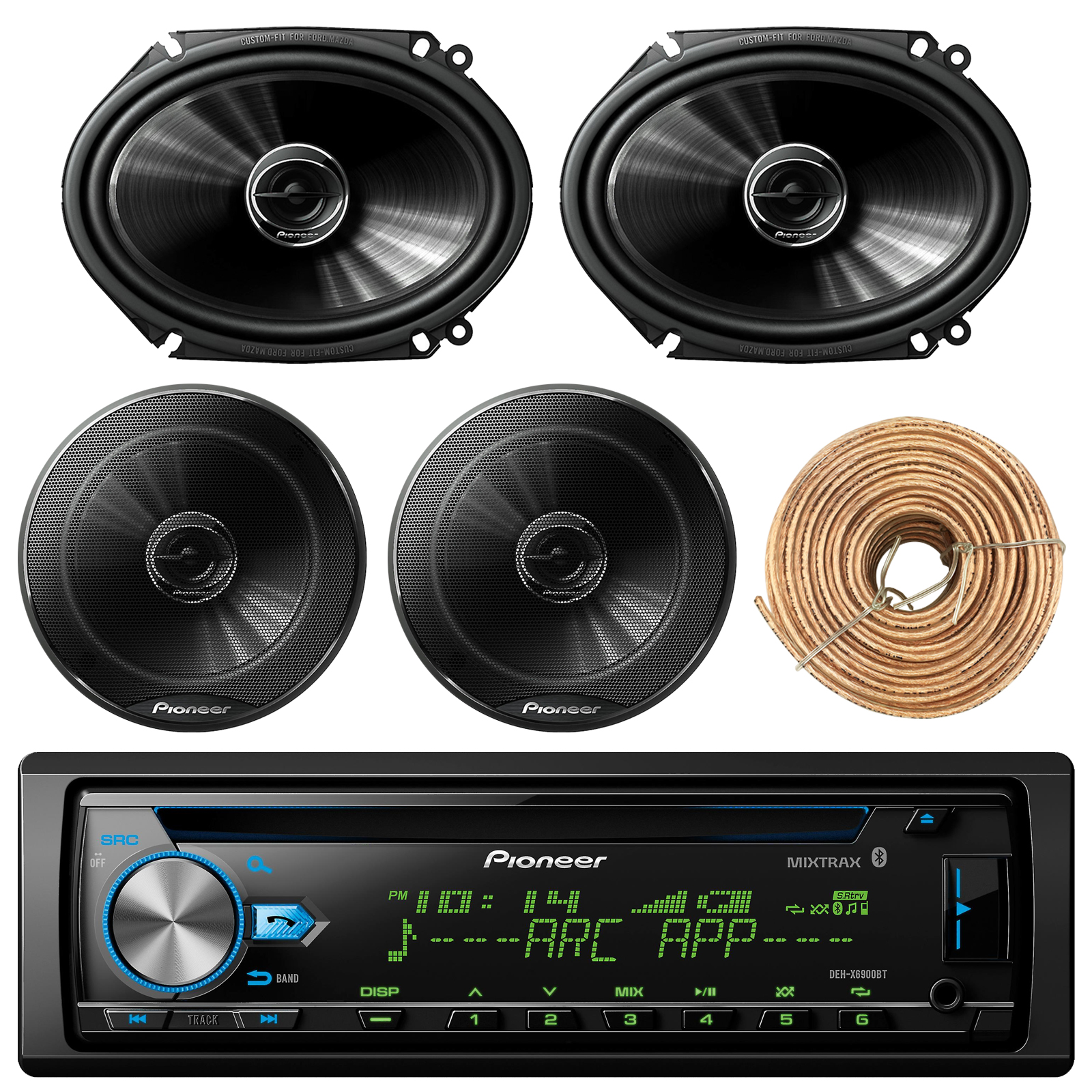 "Pioneer DEH-X6900BT Car Bluetooth Radio USB AUX CD Player Receiver - Bundle Combo With 2x 250W 6x8"" inch 2-Way Coaxial Car Audio Speakers + 2x 6.5-Inch Speakers + Enrock 50 Ft 18 Gauge Speaker Wire"