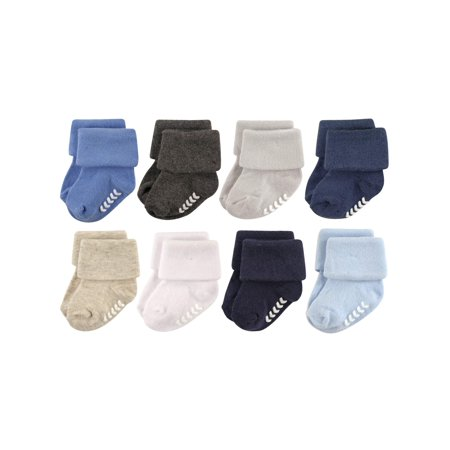 Roll Cuff Crew Sock with Grippers, 8-Pack (Baby Boys)
