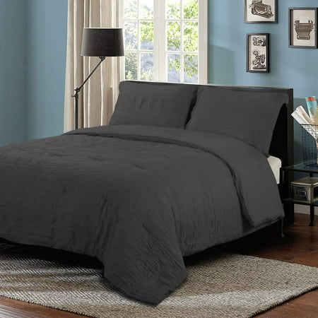 HONEYMOON HOME FASHIONS Seersucker Twin Comforter Set Bedding, Dark Grey
