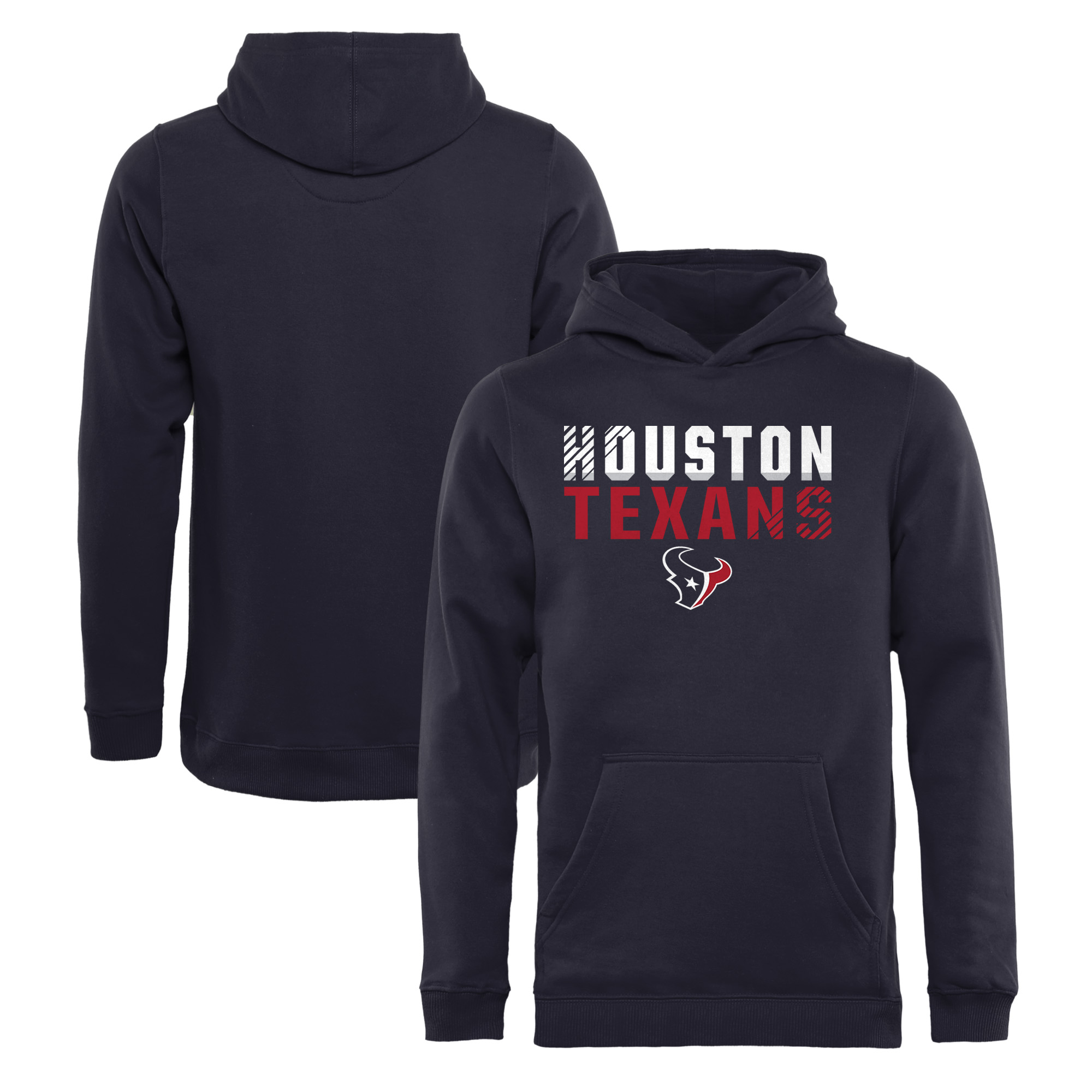 Houston Texans NFL Pro Line by Fanatics Branded Youth Iconic Collection Fade Out Pullover Hoodie - Navy