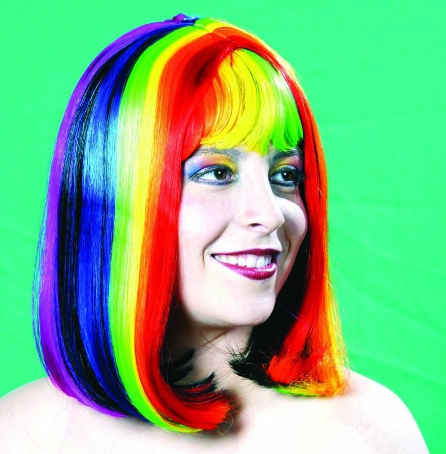 Rainbow Pride Barbara Multi Color Costume Wig