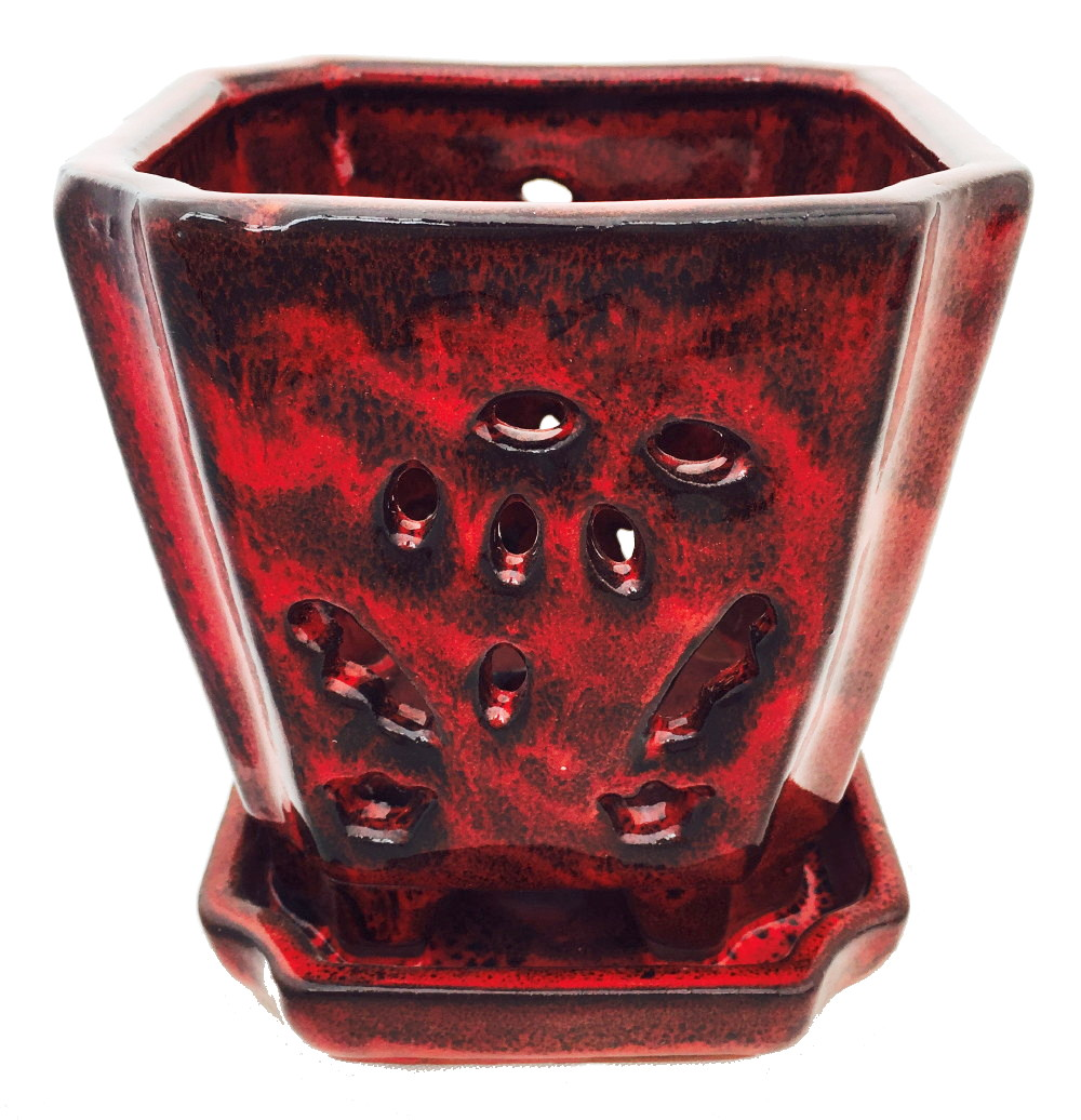 "Square Ceramic Orchid Pot/Saucer + Felt Feet - 5"" x 5 1/8"" -Tropical Red  #14695"