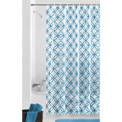 Mainstays Hadley Teal PEVA Shower Curtain by Maytex Mills Inc
