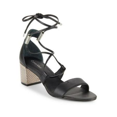 180f934fde0 Calvin Klein - Calvin Klein Womens Natania Leather Open Toe Casual Strappy  Sandals - Walmart.com