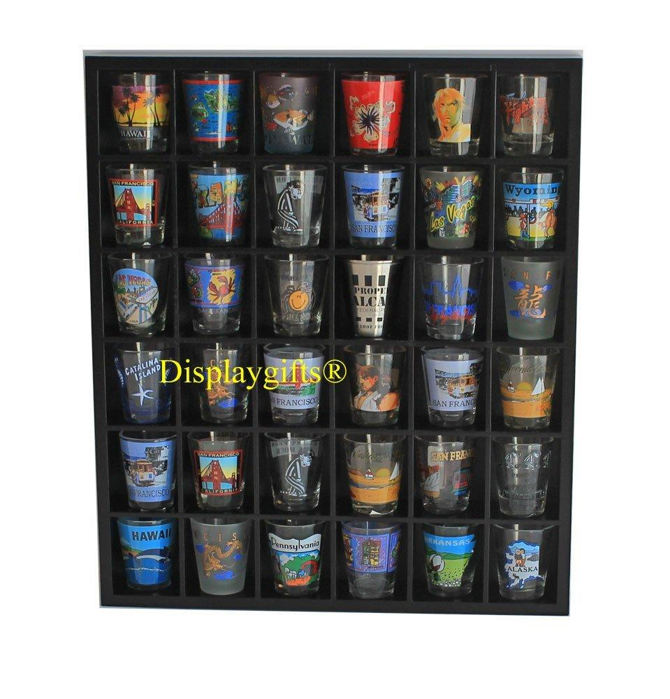 Shot Glass Curio Holder/Miniature Collectibles Wall Display Cabinet, No Door, MH37-BLACK