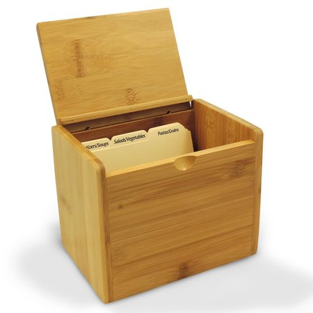Bamboo Recipe Box Personalized Option For 4x6 Cards Includes