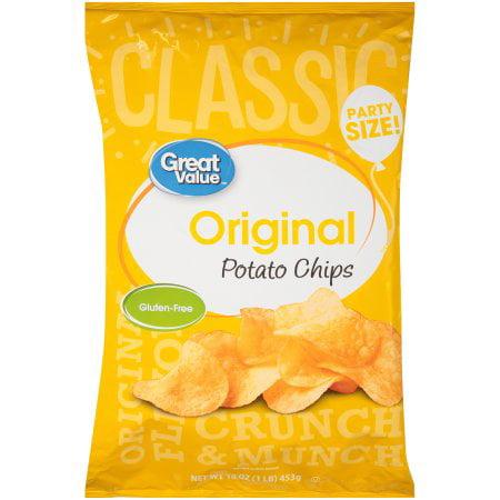 Great Value Gluten-Free Original Potato Chips Party Size, 16 Oz.