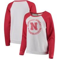 Nebraska Cornhuskers Blue 84 Women's Cozy Fleece Raglan Crew Pullover Sweatshirt - White