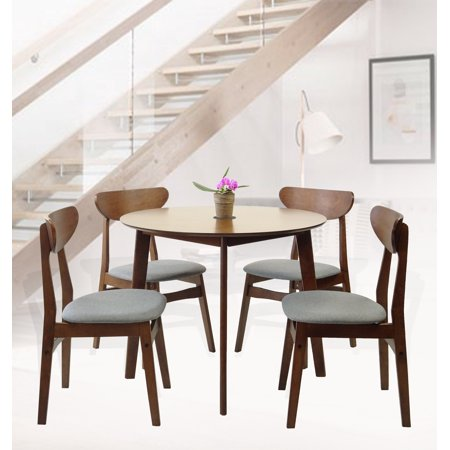 SK New Interiors Dining Round Table and 4 Yumiko Side Chairs (Set of 5) Solid Wood Medium Brown