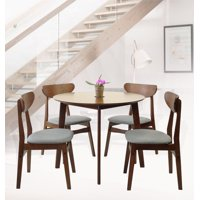 SK New Interiors Dining Round Table and 4 Yumiko Side Chairs (Set of 5) Solid Wood Medium Brown Finish