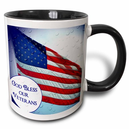 Veteran Military Large Mug (3dRose An American Flag with text God Bless our Veterans, Two Tone Black Mug, 11oz )