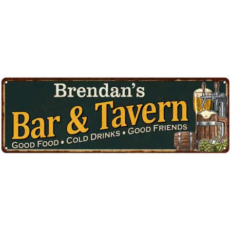 Brendan's Bar and Tavern Green Chic Sign Home Man Cave Décor 6x18