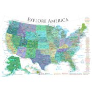 USA National Parks Map Poster - White - 24x16 inches