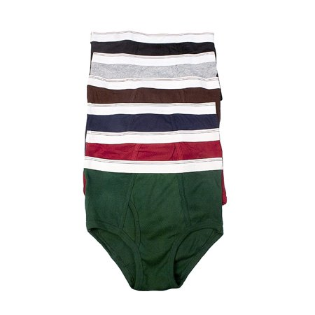 Iheyi 6 pcs Power Club Men's Briefs Plain 100% Cotton Briefs Underwear Panty (3400) (Small) Black