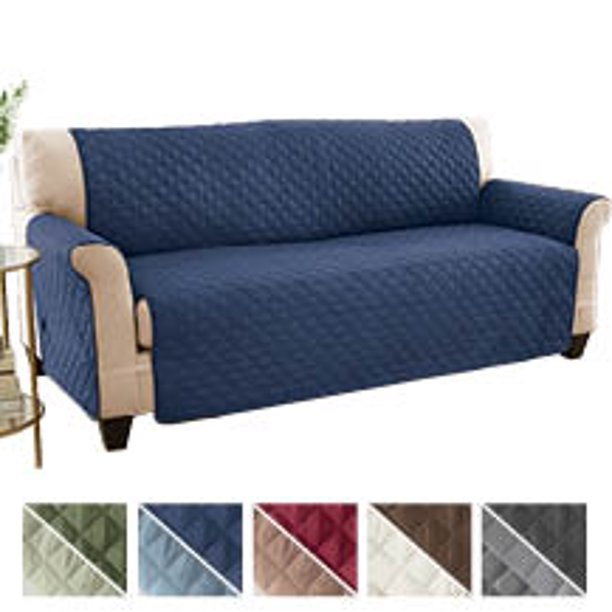 Collections Etc Reversible Quilted Sofa, Blue Sofa Covers