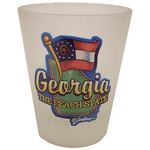 Bulk Buys Georgia Shot Glass 2. 25H X 2 inch W Frosted Map-Flag - Case of 96
