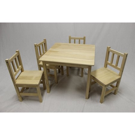 eHemco 5 Piece Kids Table and Chairs Set Solid Hard Wood (Unfinished ...