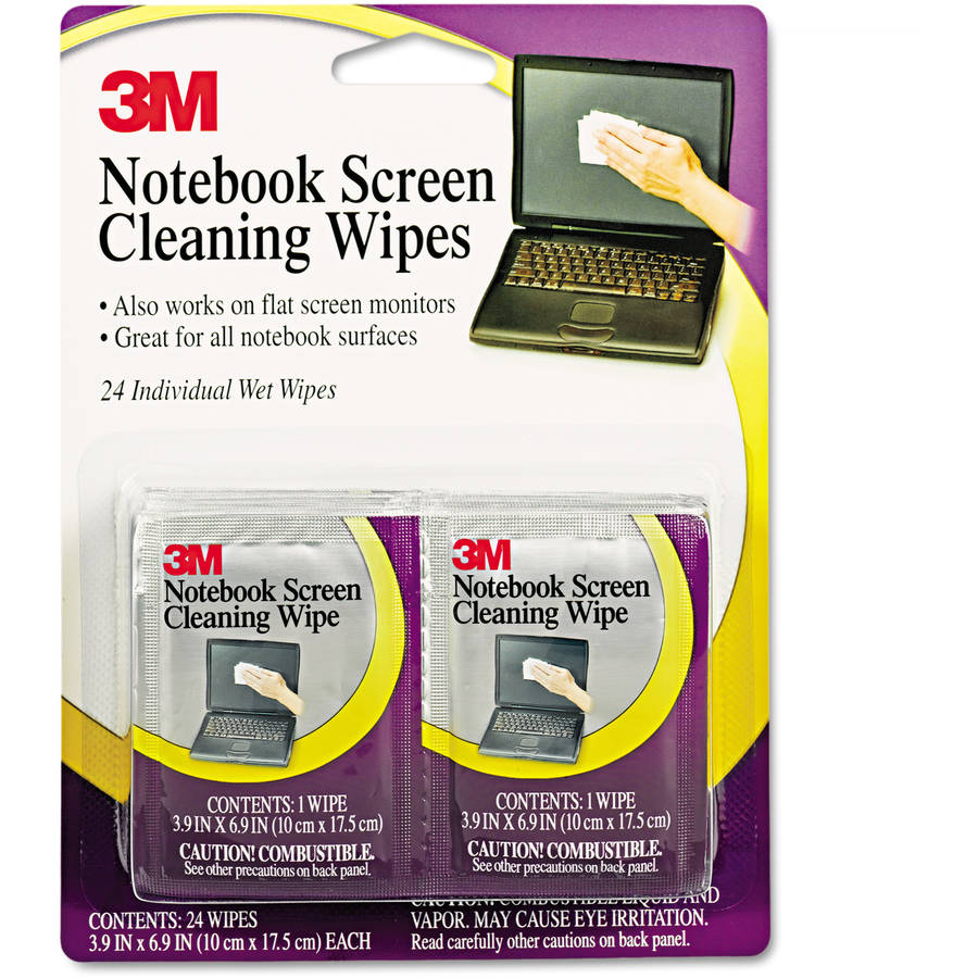 3M Notebook Screen Cleaning Wet Wipes, 24pk